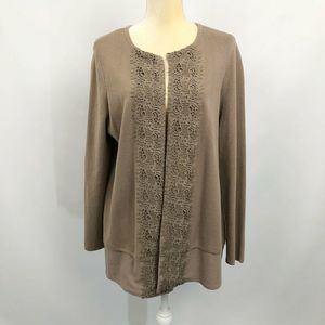 Chicos Taupe Lace Front Cardigan